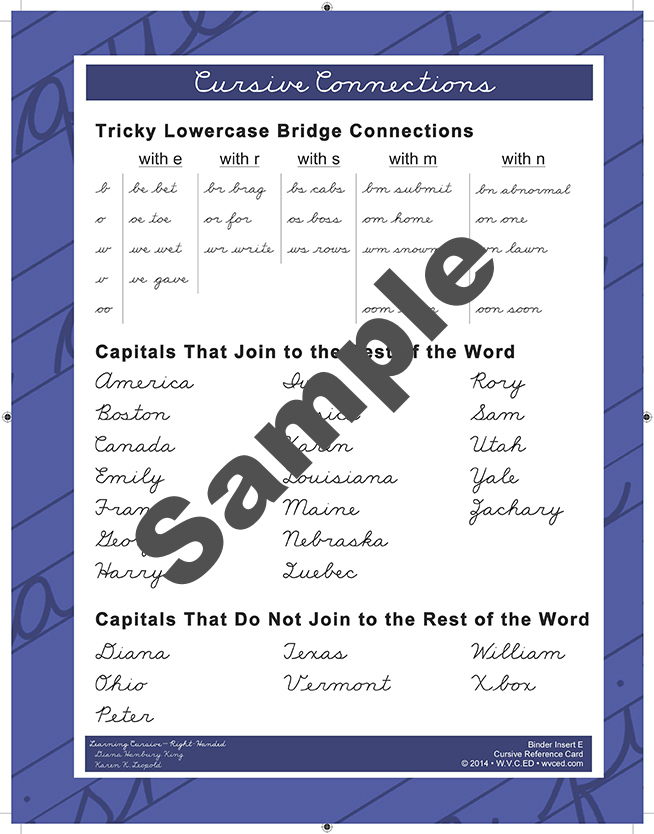 Learning Cursive - Right Handed Reference Card